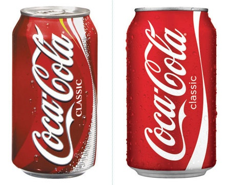Coke can before and after redesign