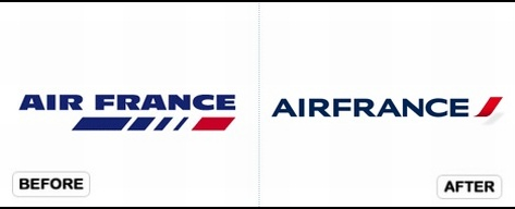 Before and after of Air France Logo redesign