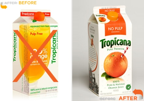 Tropicana redesign, Before and After compared