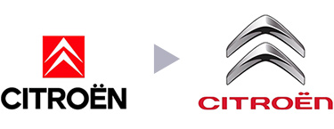 Citroen logo before and after
