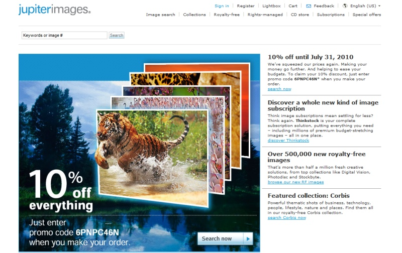 Jupiterimages homepage